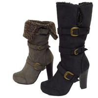 View Item LADIES BLACK OR GREY MID CALF FOLD DOWN ZIP-UP BUCKLE FUR BOOTS SIZES 3-8